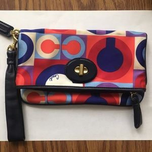 Vintage multi-colored Coach wristlet
